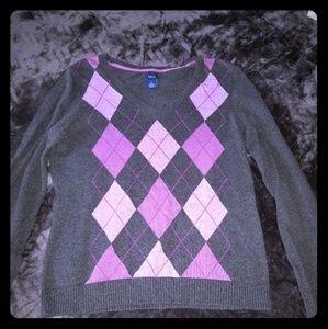 Argyle purple and grey sweater